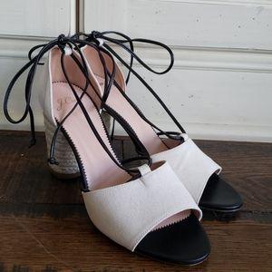 J. Crew Stella heels canvas leather ties L5223